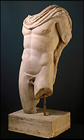 BNPS.co.uk (01202 558833)<br /> Pic: FineArtsMuseumSanFrancisco/BNPS<br /> <br /> The traditional view of Classical sculpture in its weathered whiteness - Torso of Hermes 2nd century AD.<br /> <br /> The traditional view of the classical world full of austere white marble statue's and buildings has been transformed by a new book - that reveals the ancient world was in fact full of vibrant colours.<br /> <br /> Painstaking new research has discovered that most of the worlds most iconic art works from ancient Greece and Rome were in fact plastered with vibrant colours.<br /> <br /> However over the centuries the bright colours faded due to exposure to the elements and Renaissance maestros like Leonardo da Vinci and Michelangelo working in the 15th century believed it was the norm for sculptures to be white.<br /> <br /> Now, scientists are able to use ultra-violet photography to examine ancient pigment's and recreate how sculptures dating back to the Classical age would have looked.