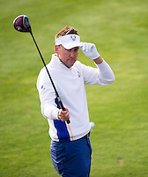 27.09.2014. Gleneagles, Auchterarder, Perthshire, Scotland.  The Ryder Cup, Day 2.  Ian Poulter (EUR) on the first tee for Saturday Fourballs.