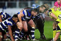 Shaun Knight of Bath Rugby prepares to scrummage against his opposite number. Anglo-Welsh Cup match, between Bath Rugby and Leicester Tigers on November 4, 2016 at the Recreation Ground in Bath, England. Photo by: Patrick Khachfe / Onside Images