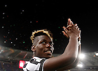Calcio, finale Tim Cup: Juventus vs Lazio. Roma, stadio Olimpico, 20 maggio 2015.<br /> Juventus' Paul Pogba celebrates at the end of the Italian Cup final football match between Juventus and Lazio at Rome's Olympic stadium, 20 May 2015. Juventus won 2-1 after extra time.<br /> UPDATE IMAGES PRESS/Isabella Bonotto