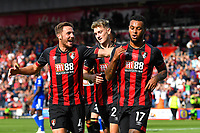Dan Gosling of AFC Bournemouth left celebrates with goalscorer Joshua King of AFC Bournemouth right during AFC Bournemouth vs Leicester City, Premier League Football at the Vitality Stadium on 15th September 2018