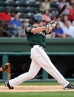 July 5, 2009: 2009 draft pick Jeremy Hazelbaker (15) of the Greenville Drive in a game against the Savannah Sand Gnats at Fluor Field at the West End in Greenville, S.C. Hazelbaker, who played with Ball State, was a fourth-round 2009 draft pick of the Boson Red Sox. Photo by: Tom Priddy/Four Seam Images
