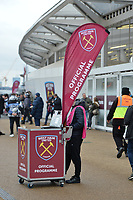 Official Programme seller during West Ham United vs Arsenal, Premier League Football at The London Stadium on 12th January 2019