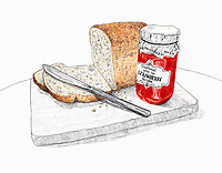 Slice of bread and jar of jam