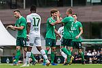 07.07.2019, Parkstadion, Zell am Ziller, AUT, TL Werder Bremen Zell am Ziller / Zillertal Tag 03 - FSP Blitzturnier<br /> <br /> im Bild<br /> Jubel 1:0, Yuya Osako (Werder Bremen #08) bejubelt seinen Treffer zum 1:0 mit Ludwig Augustinsson (Werder Bremen #05) und Niklas Moisander (Werder Bremen #18), <br /> <br /> im ersten Spiel des Blitzturniers SV Werder Bremen vs WSG Swarowski Tirol, <br /> <br /> Foto © nordphoto / Ewert