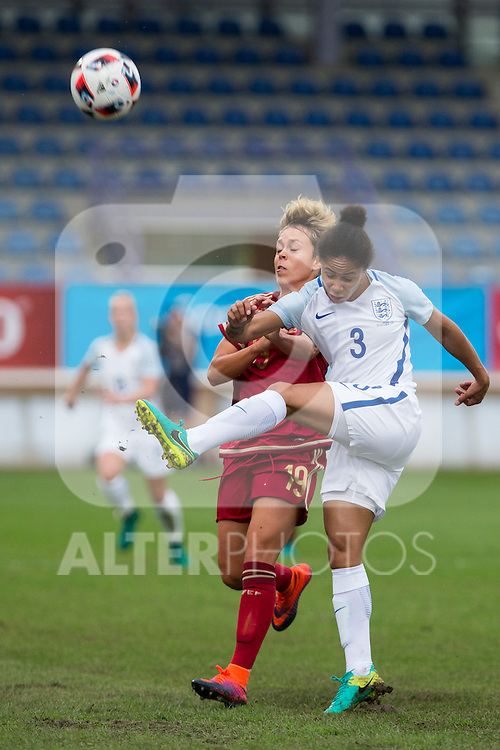 England's Demi Stokes Spain's Amanda Sampedro during the frendly match between woman teams of  Spain and England at Fernando Escartin Stadium in Guadalajara, Spain. October 25, 2016. (ALTERPHOTOS/Rodrigo Jimenez)
