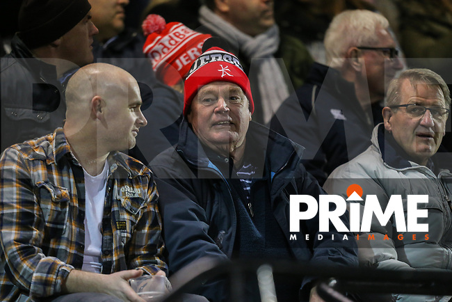 Supporters during the Greene King IPA Championship match between London Scottish Football Club and Jersey Reds at Richmond Athletic Ground, Richmond, United Kingdom on 16 March 2018. Photo by David Horn.