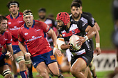 Cardiff Vaega makes a run at the Tasman defensive line, late in the game. Mitre 10 Cup rugby game between Counties Manukau Steelers and Tasman Mako, played at Navigation Homes Stadium Pukekohe on Friday September 6th 2019. Tasman won the game 36 - 0 after leading 24 - 0 at halftime.<br /> Photo by Richard Spranger.