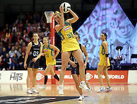 20.10.2016 Australia's Gabi Simpson in action during the Silver Ferns v Australia netball test match played at ILT Stadium in Invercargill. Mandatory Photo Credit ©Michael Bradley.
