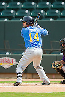 Trever Adams (14) of the Myrtle Beach Pelicans at bat against the Winston-Salem Dash at BB&T Ballpark on July 7, 2013 in Winston-Salem, North Carolina.  The Pelicans defeated the Dash 6-5 in 8 innings in game two of a double-header.  (Brian Westerholt/Four Seam Images)