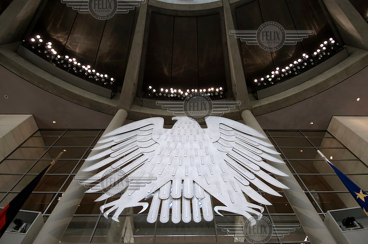 The German eagle inside the German parliament.