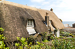 Pretty historic thatched cottages, Cadgwith, Lizard peninsula, Cornwall, England, UK