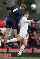 DEC 3, 2005: College Park MD, USA: Maryland Terrapins midfielder (8) Robbie Rogers and Akron Zips defender (6) Corey Sipos go up for a header at Ludwig Field. Mandatory Credit: Photo By Brad Smith-International Sports Images (c) Copyright 2005 Brad Smith