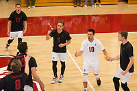 STANFORD, CA - January 2, 2018: Eli Wopat, Russell Dervay, Evan Enriques, Eric Beatty, Kevin Rakestraw, Leo Henken at Burnham Pavilion. The Stanford Cardinal defeated the Calgary Dinos 3-1.