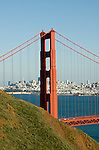 California, San Francisco: The Golden Gate Bridge from the Marin Headlands.Photo #: 3-casanf78329.Photo © Lee Foster 2008