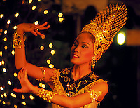 Traditional Thai dancer performs at a dinner show in Bangkok, Thailand