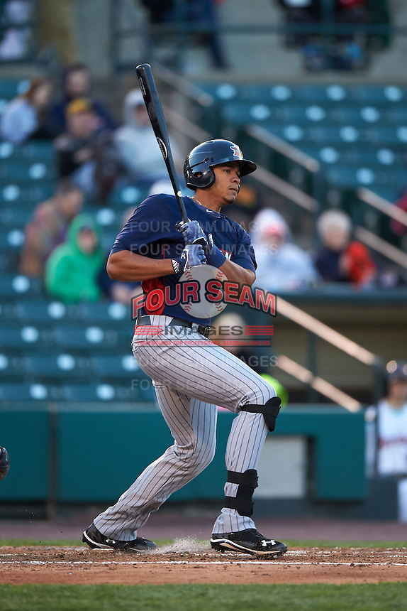 Toledo Mudhens outfielder Steven Moya (24) at bat during a game against the Rochester Red Wings on May 12, 2015 at Frontier Field in Rochester, New York.  Toledo defeated Rochester 8-0.  (Mike Janes/Four Seam Images)