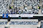 Stockholm 2014-04-06 Fotboll Allsvenskan Djurg&aring;rdens IF - Halmstads BK :  <br /> Halmstads supportrar med banderoller i Tele2 Arena innan matchen som en hyllning till den Djurg&aring;rdssupporter som avled i samband med den allsvenska premi&auml;ren i Helsingborg<br /> (Foto: Kenta J&ouml;nsson) Nyckelord:  Djurg&aring;rden DIF Tele2 Arena Halmstad HBK supporter fans publik supporters tifo hyllning Myggan Stefan Isaksson