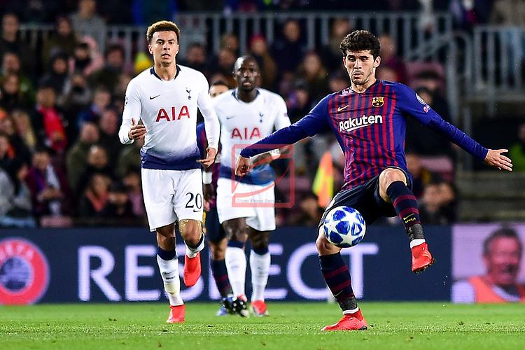 UEFA Champions League 2018/2019 - Matchday 6.<br /> FC Barcelona vs Tottenham Hotspur FC: 1-1.<br /> Alli vs Carles Aleña.