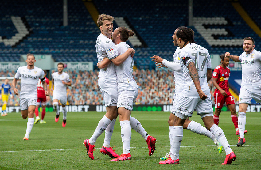 Leeds United's Patrick Bamford celebrates scoring the opening goal with teammates<br /> <br /> Photographer Alex Dodd/CameraSport<br /> <br /> The EFL Sky Bet Championship - Leeds United v Fulham - Wednesday 24th June 2020 - Elland Road - Leeds<br /> <br /> World Copyright © 2020 CameraSport. All rights reserved. 43 Linden Ave. Countesthorpe. Leicester. England. LE8 5PG - Tel: +44 (0) 116 277 4147 - admin@camerasport.com - www.camerasport.com<br /> <br /> Photographer Alex Dodd/CameraSport<br /> <br /> The Premier League - Newcastle United v Aston Villa - Wednesday 24th June 2020 - St James' Park - Newcastle <br /> <br /> World Copyright © 2020 CameraSport. All rights reserved. 43 Linden Ave. Countesthorpe. Leicester. England. LE8 5PG - Tel: +44 (0) 116 277 4147 - admin@camerasport.com - www.camerasport.com