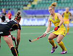The Hague, Netherlands, June 05: Georgia Nanscawen #2 of Australia defends during the match during the field hockey group match (Women - Group A) between Belgium and Australia on June 5, 2014 during the World Cup 2014 at Kyocera Stadium in The Hague, Netherlands. Final score 2:3 (1:1) (Photo by Dirk Markgraf / www.265-images.com) *** Local caption ***