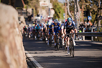 Luke Rowe (GBR/SKY) is the first turning up the Poggio climb, with Michał Kwiatkowski (POL/SKY) in his wheel <br /> <br /> 110th Milano-Sanremo 2019 (ITA)<br /> One day race from Milano to Sanremo (291km)<br /> <br /> ©kramon