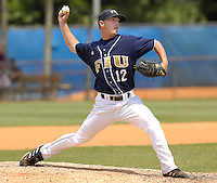 27 April 2008: Florida International pitcher James Lajiness (12) throws in relief in the FIU 17-10 victory over Louisiana at Monroe at University Park Stadium in Miami, Florida.