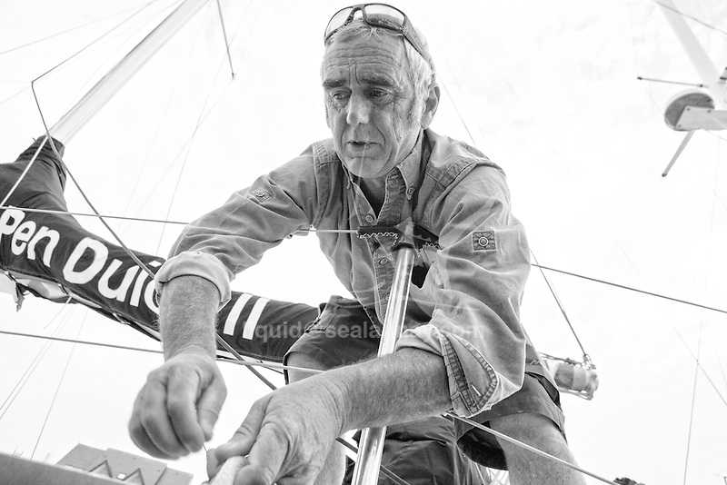 Loick Peyron back to Le Pouliguen on Pen Duick II after he had retired from The Transat Bakerly.
