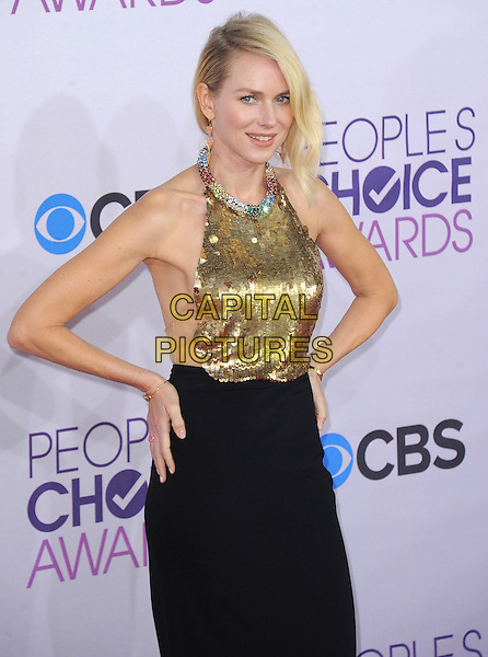 Naomi Watts.The 2013 People's Choice Awards held at Nokia Live in Los Angeles, California 9th January 2013                                                                   .half length gold sleeveless sequins sequined collar embellished jewel halterneck encrusted top skirt black hands on hips.CAP/DVS.©DVS/Capital Pictures.