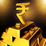 Golden Indian currency sign on top of gold bars and coins