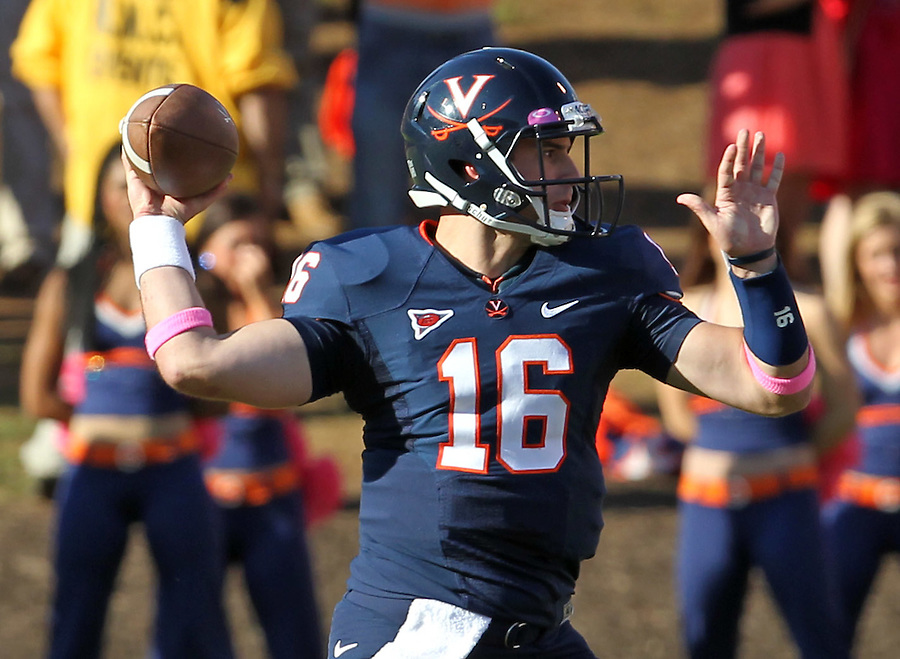 Oct. 22, 2011 - Charlottesville, Virginia - USA; Virginia Cavaliers quarterback Michael Rocco (16) throws the ball during an NCAA football game against the North Carolina State Wolfpack at the Scott Stadium. NC State defeated Virginia 28-14. (Credit Image: © Andrew Shurtleff/