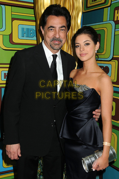 JOE & GIA MANTEGNA.HBO 2011 Post Golden Globe Awards Party held at The Beverly Hilton Hotel, Beverly Hills, California, USA..January 16th, 2011.half length suit blue dress strapless father dad daughter family silver clutch bag black goatee facial hair white.CAP/ADM/BP.©Byron Purvis/AdMedia/Capital Pictures.