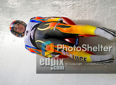 6 February 2009: Erin Hamlin from the USA slides through a curve in the Women's Competition finishing in first place for the event with a combined time of 1:28.098 at the 41st FIL Luge World Championships, in Lake Placid, New York, USA. .  .Mandatory Photo Credit: Ed Wolfstein Photo