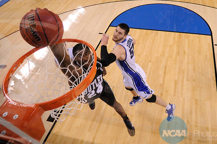 5 APR 2010: Avery Jukes (24) from Butler goes to the basket for a slam dunk attempt during the Men's Basketball Championship held at Lucas Oil Stadium in Indianapolis, IN. Duke went on to defeat Butler 61-59 to claim the championship title. Chris Steppig/NCAA Photos