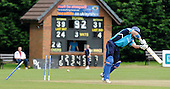 Scotland V Afghanistan, One Day International, at New Cambusdoon, Ayr - topsy turvy stumps for Scots batsman Gavin Hamilton, falling to the bowling of Hassan Hamid, for 31 - Picture by Donald MacLeod 16.08.10 - mobile 07702 319 738 - clanmacleod@btinternet.com