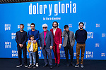 (L-R) Leonardo Sbaraglia, Antonio Banderas,  Asier Flores, Pedro Almodovar, Asier Etxeandia and Raúl Arévalo attend the photocall of the movie 'Dolor y gloria' in Villa Magna Hotel, Madrid 12th March 2019. (ALTERPHOTOS/Alconada)