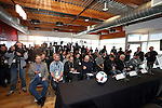 08 December 2016: Press packed the room for the conference. Major League Soccer held a press conference with Toronto FC and Seattle Sounders FC at the Kia Training Ground in Toronto, Ontario in Canada two days before MLS Cup 2016.