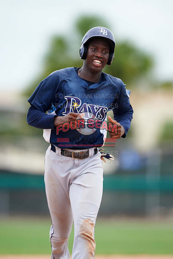 GCL Rays right fielder Jesus Sanchez (3) running the bases on a Jose Tonton (not shown) home run during the second game of a doubleheader against the GCL Red Sox on August 9, 2016 at JetBlue Park in Fort Myers, Florida.  GCL Rays defeated GCL Red Sox 9-1.  (Mike Janes/Four Seam Images)