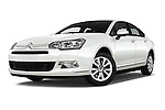 Stock pictures of low aggressive front three quarter view of 2016 Citroen C5-Berline Business 4 Door Sedan Low Aggressive