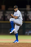 Surprise Saguaros relief pitcher Arnaldo Hernandez (37), of the Kansas City Royals, delivers a pitch during an Arizona Fall League game against the Scottsdale Scorpions at Scottsdale Stadium on October 15, 2018 in Scottsdale, Arizona. Surprise defeated Scottsdale 2-0. (Zachary Lucy/Four Seam Images)