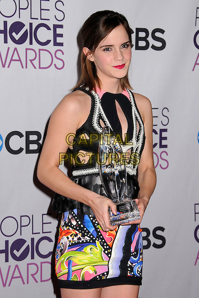 Emma Watson.People's Choice Awards 2013 - Press Room held at Nokia Theatre L.A. Live, Los Angeles, California, USA..January 9th, 2013.half length award trophy winner  black white pink green blue pattern print dress sleeveless cut out away red lipstick .CAP/ADM/BP.©Byron Purvis/AdMedia/Capital Pictures.