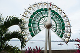 PHILIPPINES, Palawan, Puerto Princesa, sculpture of a metal peacock in the City Port Area