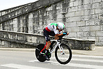 Italian National Champion Gianni Moscon (ITA) Team Sky in action during the opening Prologue of the 2018 Criterium du Dauphine running 6.6km around Valence, France. 3rd June 2018.<br /> Picture: ASO/Alex Broadway | Cyclefile<br /> <br /> <br /> All photos usage must carry mandatory copyright credit (&copy; Cyclefile | ASO/Alex Broadway)