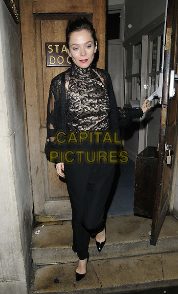 Anna Friel.departed after the evening performance of 'Uncle Vanya', Vaudeville Theatre, The Strand, London, England, UK, .24th November 2012..full length black lace top high neck baggy trousers jacket pointy shoes .CAP/CAN.©Can Nguyen/Capital Pictures.
