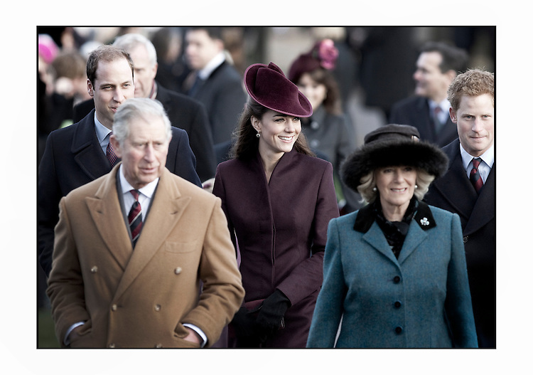 Catherine , Duchess Of Cambridge attending the traditional Christmas Day church service at St Mary Magdelene Church , Sandringham..Tel: 07515 876520.e mail: info@kisforkate.com