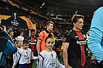 08.11.2018, BayArena, Leverkusen, Europaleque, Vorrunde, GER, UEFA EL, Bayer 04 Leverkusen (GER) vs. FC Zuerich (SUI),<br />  <br /> DFL regulations prohibit any use of photographs as image sequences and/or quasi-video<br /> <br /> im Bild / picture shows: <br /> Julian Baumgartlinger (Leverkusen #15), mit einlaufkind hinten Lukas Hradecky Torwart (Leverkusen #1), <br /> <br /> Foto &copy; nordphoto / Meuter<br /> <br /> <br /> <br /> Foto &copy; nordphoto / Meuter