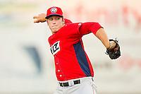 Orem Owlz relief pitcher Austin Adams (19) in action against the Ogden Raptors at Lindquist Field on July 27, 2012 in Ogden, Utah.  The Raptors defeated the Owlz 6-3.   (Brian Westerholt/Four Seam Images)
