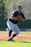 Infielder Sean Kazmar (23) of the Atlanta Braves farm system in a Minor League Spring Training workout on Tuesday, March 17, 2015, at the ESPN Wide World of Sports Complex in Lake Buena Vista, Florida. (Tom Priddy/Four Seam Images)