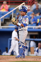 Daytona Cubs catcher Willson Contreras (5) during a game against the Dunedin Blue Jays on April 16, 2014 at Florida Auto Exchange Stadium in Dunedin, Florida.  Dunedin defeated Daytona 5-1.  (Mike Janes/Four Seam Images)