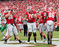 The Georgia Bulldogs played North Texas Mean Green at Sanford Stadium.  After North Texas tied the game at 21 early in the second half, the Georgia Bulldogs went on to score 24 unanswered points to win 45-21.  Georgia players celebrate a TD.